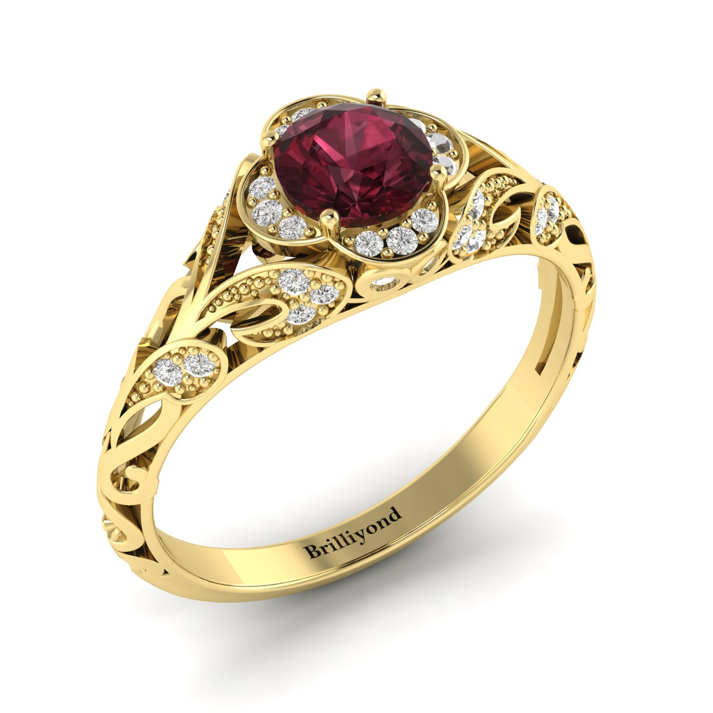 Garnet Ring Yellow Gold Vintage Country Road_image1