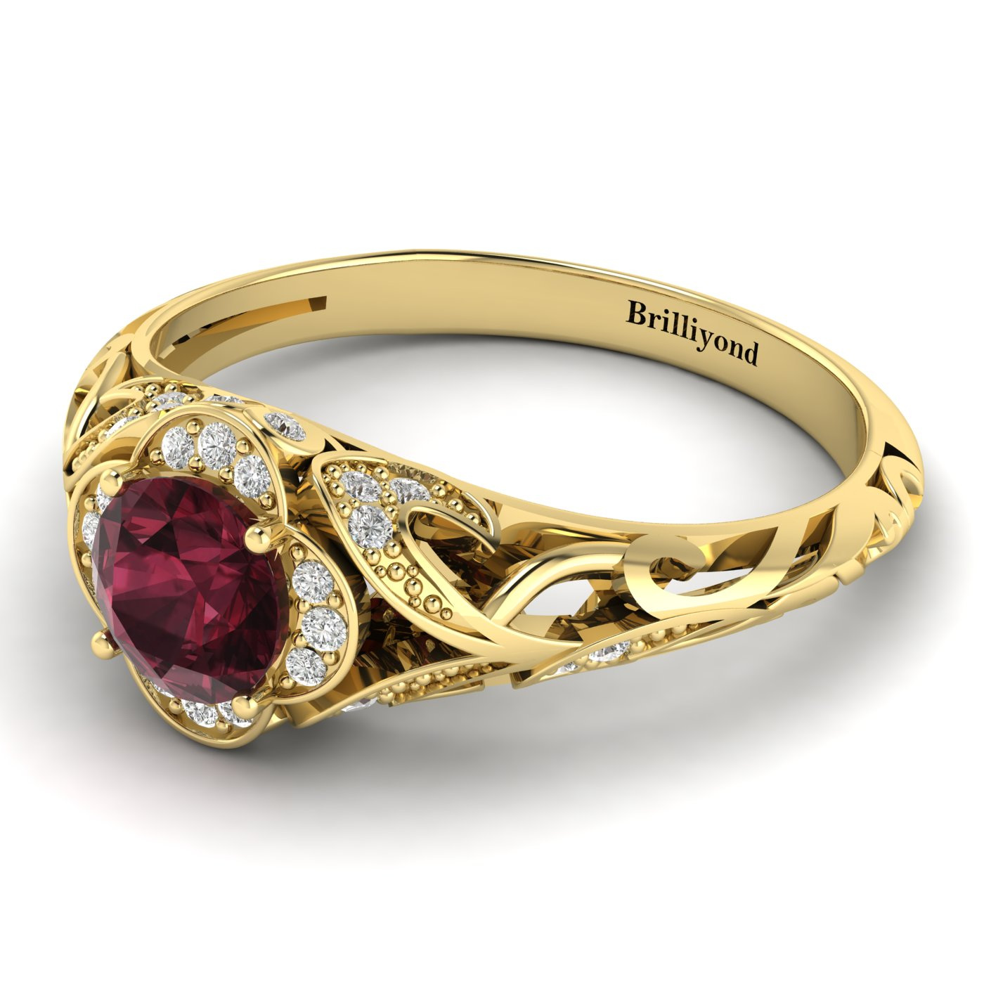 Garnet Ring Yellow Gold Vintage Country Road_image2