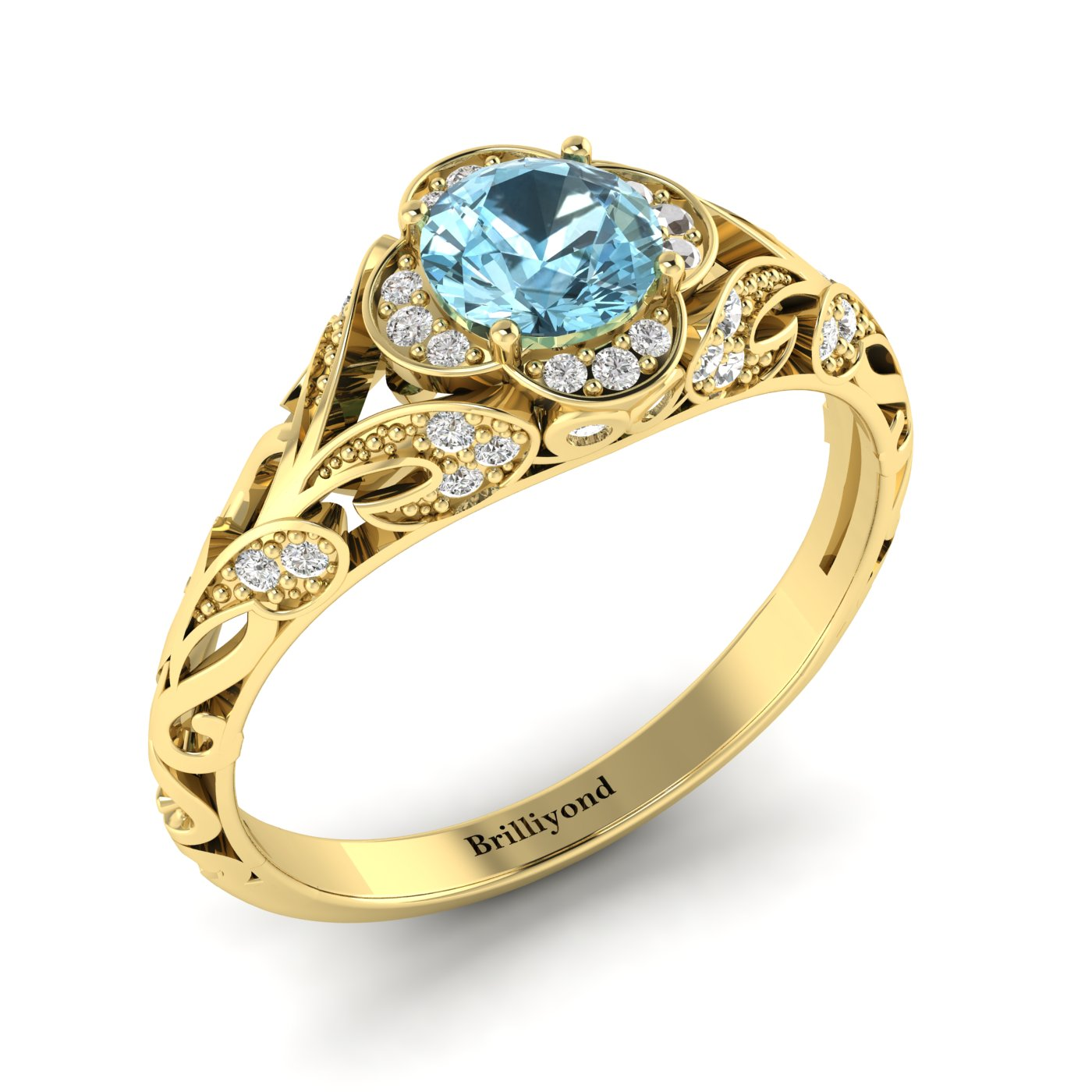 Aquamarine Yellow Gold Vintage Engagement Ring Country Road