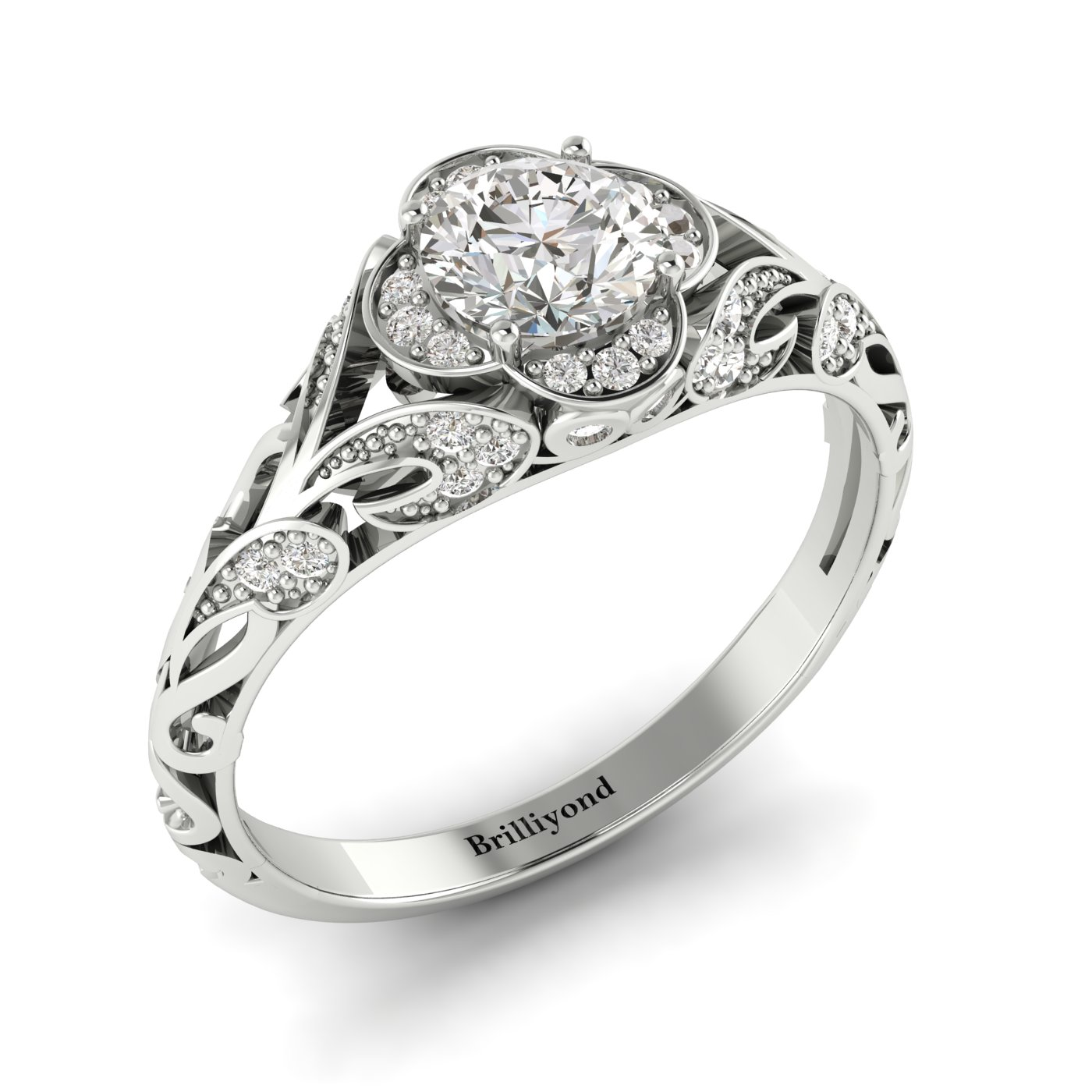 Diamond White Gold Vintage Engagement Ring Country Road_image1
