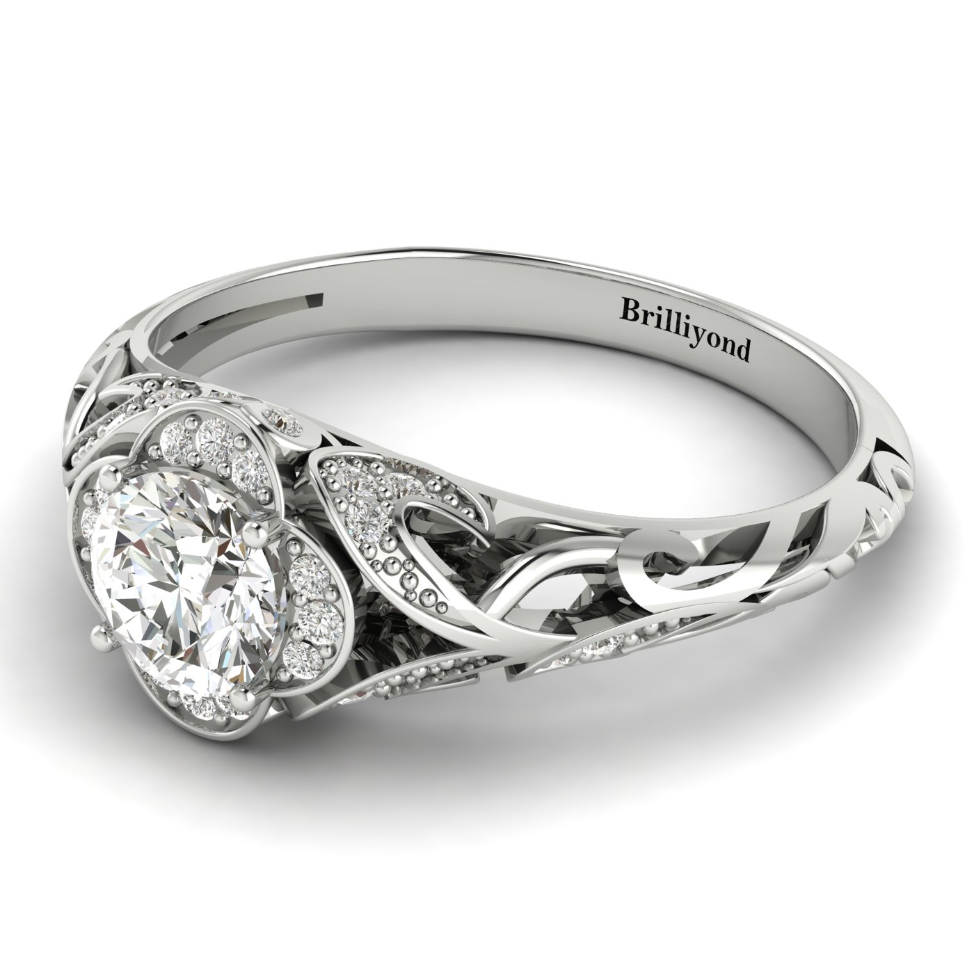 Diamond White Gold Vintage Engagement Ring Country Road_image2