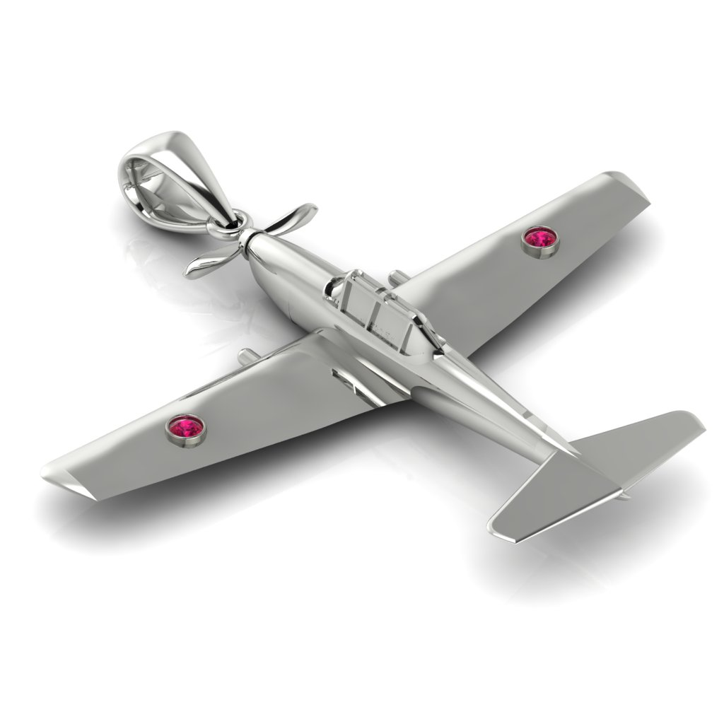 Chipmunk Aircraft Necklace White Gold_image1