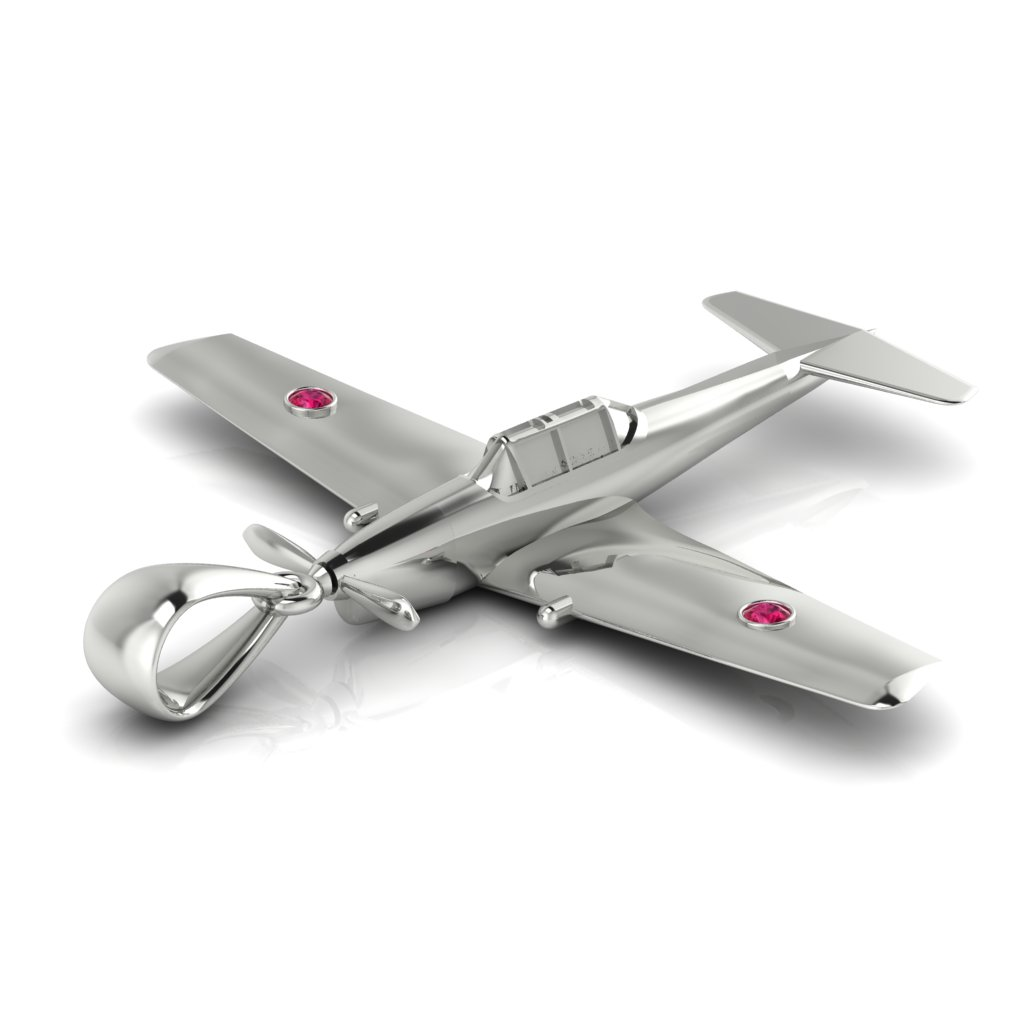 Chipmunk Aircraft Necklace White Gold_image2