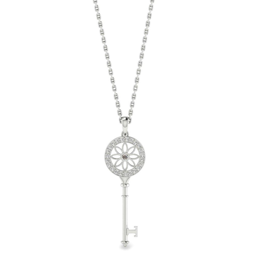 Diamond Platinum Key Necklace Vortex_image1