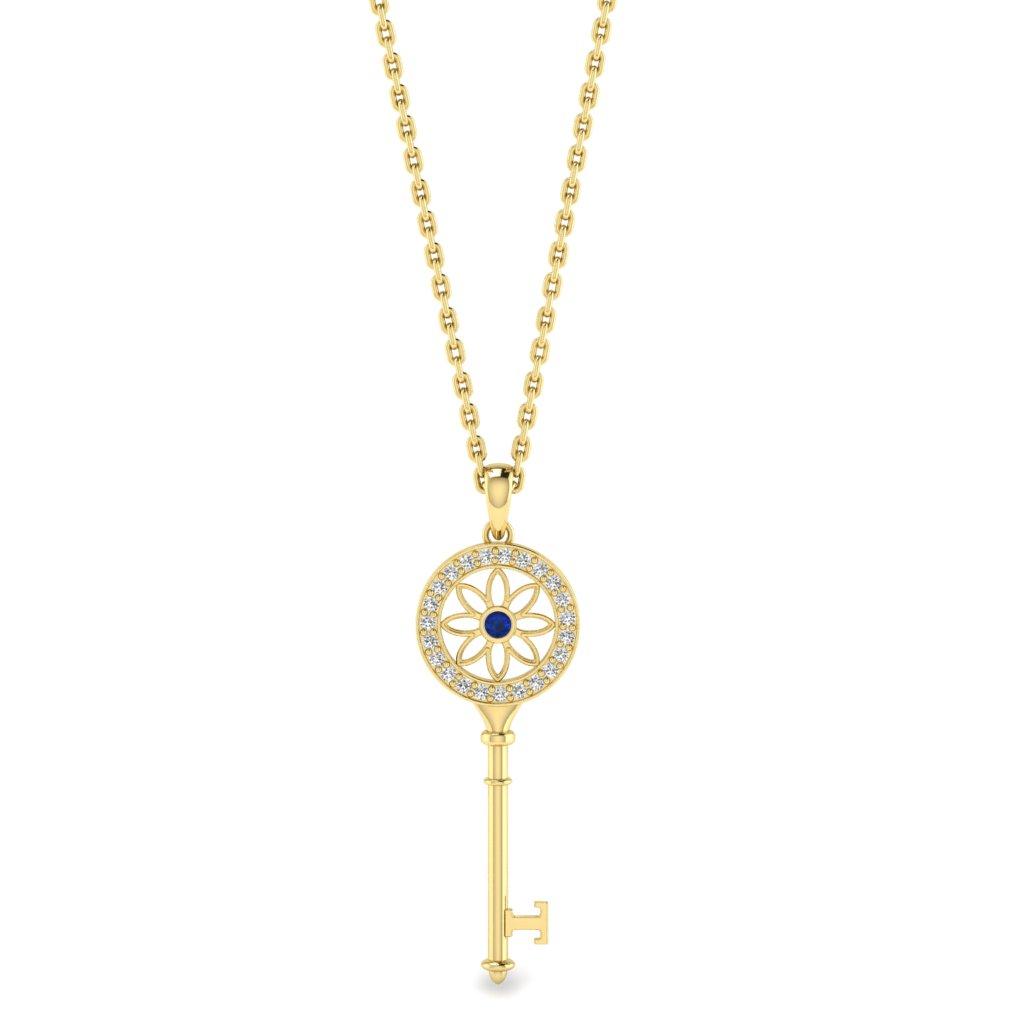 Blue Sapphire Yellow Gold Key Necklace Vortex