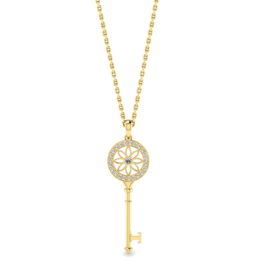 White Sapphire Yellow Gold Key Necklace Vortex_image1