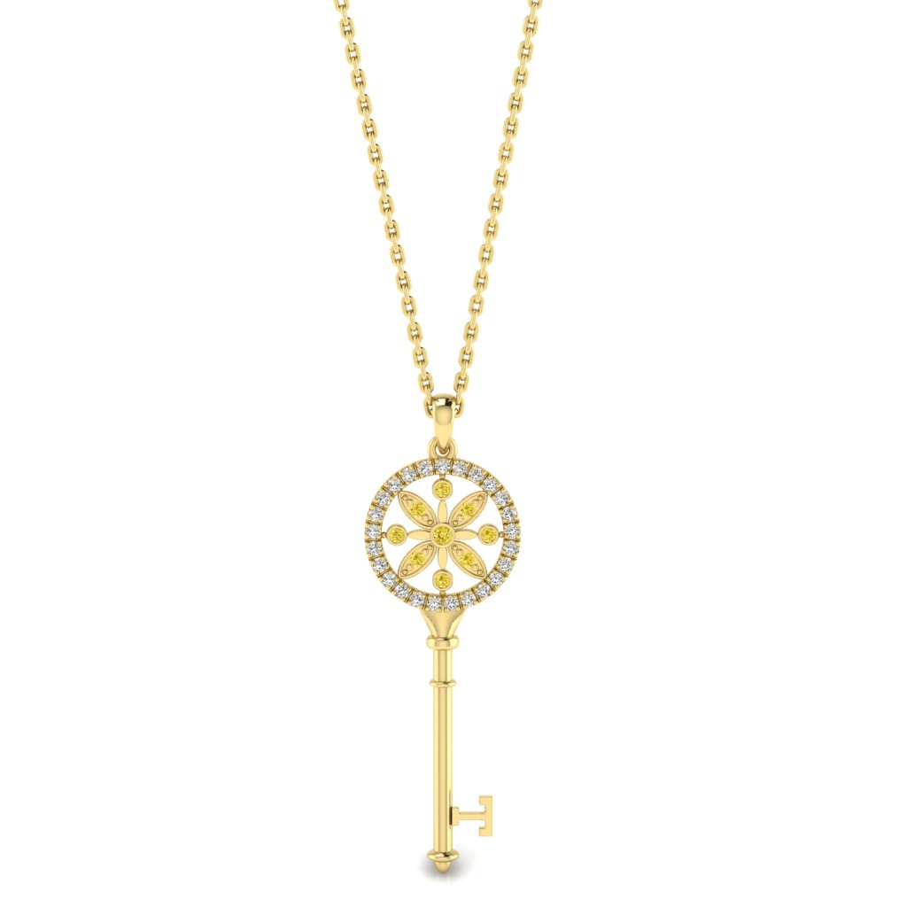 Yellow Sapphire Yellow Gold Key Necklace Nexus_image1