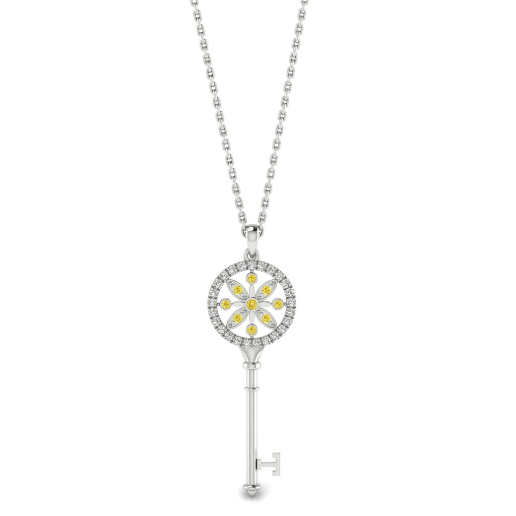 Yellow Sapphire White Gold Key Necklace Nexus_image1
