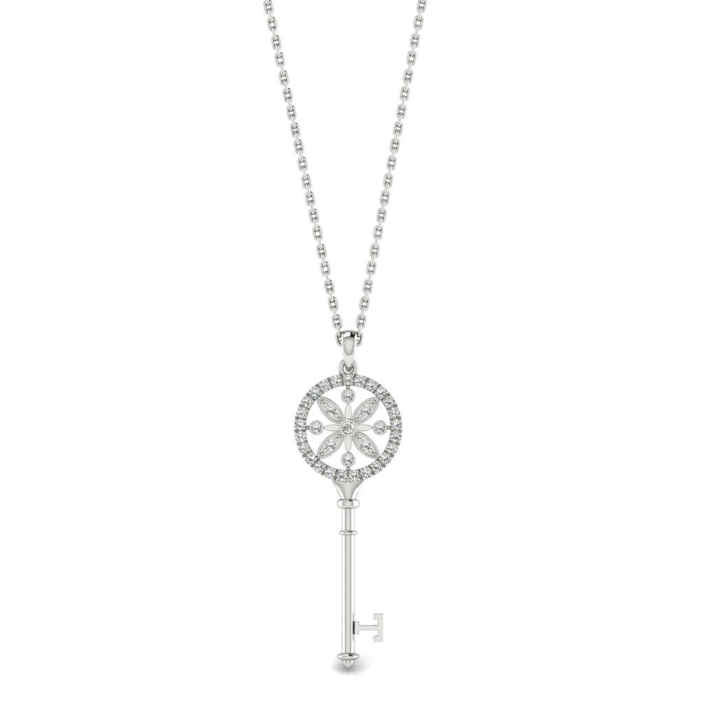 White Sapphire White Gold Key Necklace Nexus