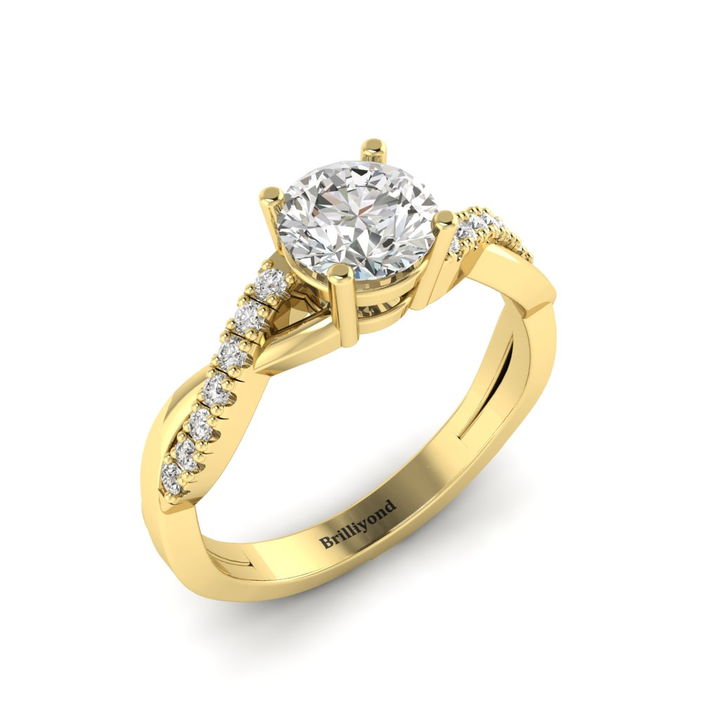 Diamond Yellow Gold Round Engagement Ring Novia_image1