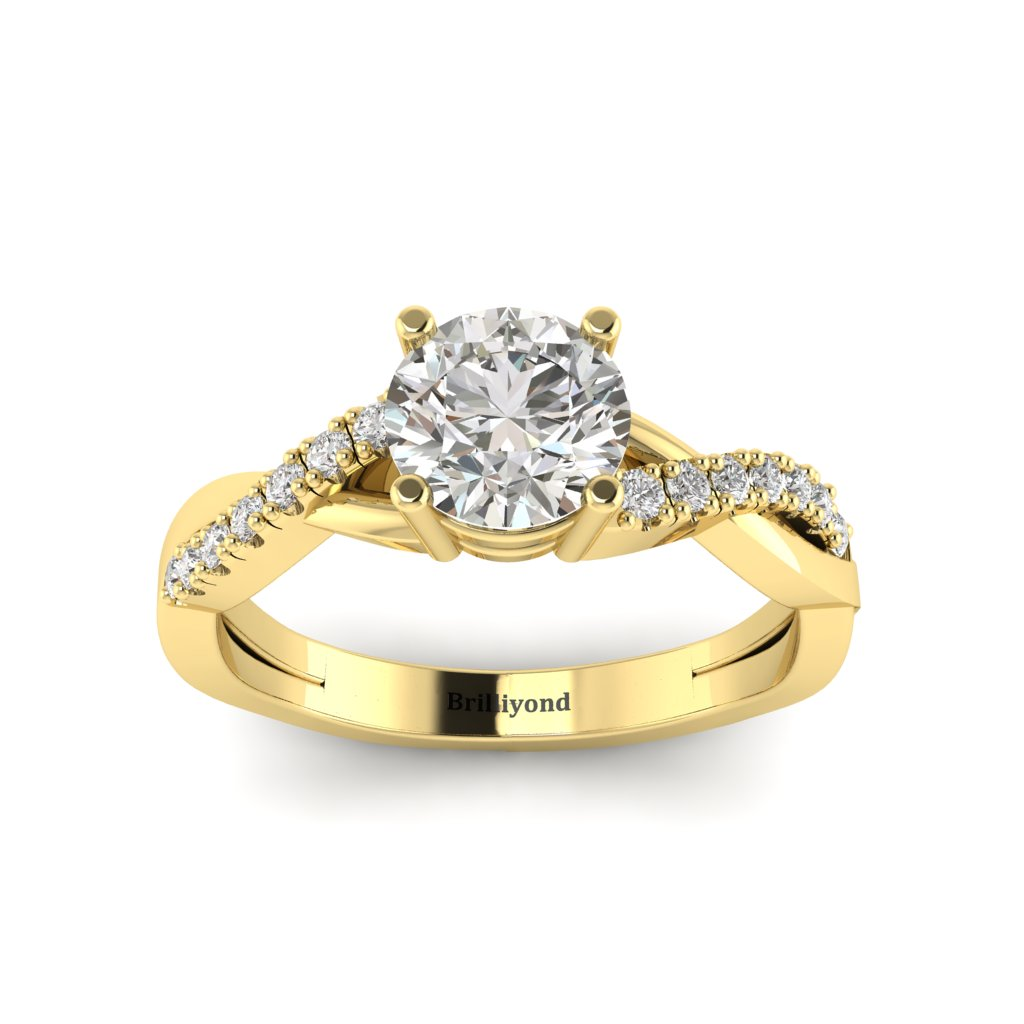 Diamond Yellow Gold Round Engagement Ring Novia_image2