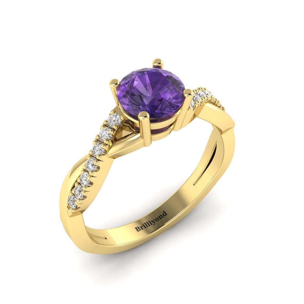 Amethyst Yellow Gold Round Engagement Ring Novia_image2