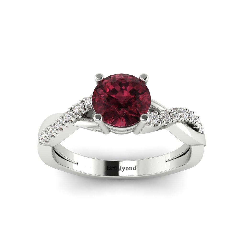 Garnet Ring White Gold Round Novia_image2