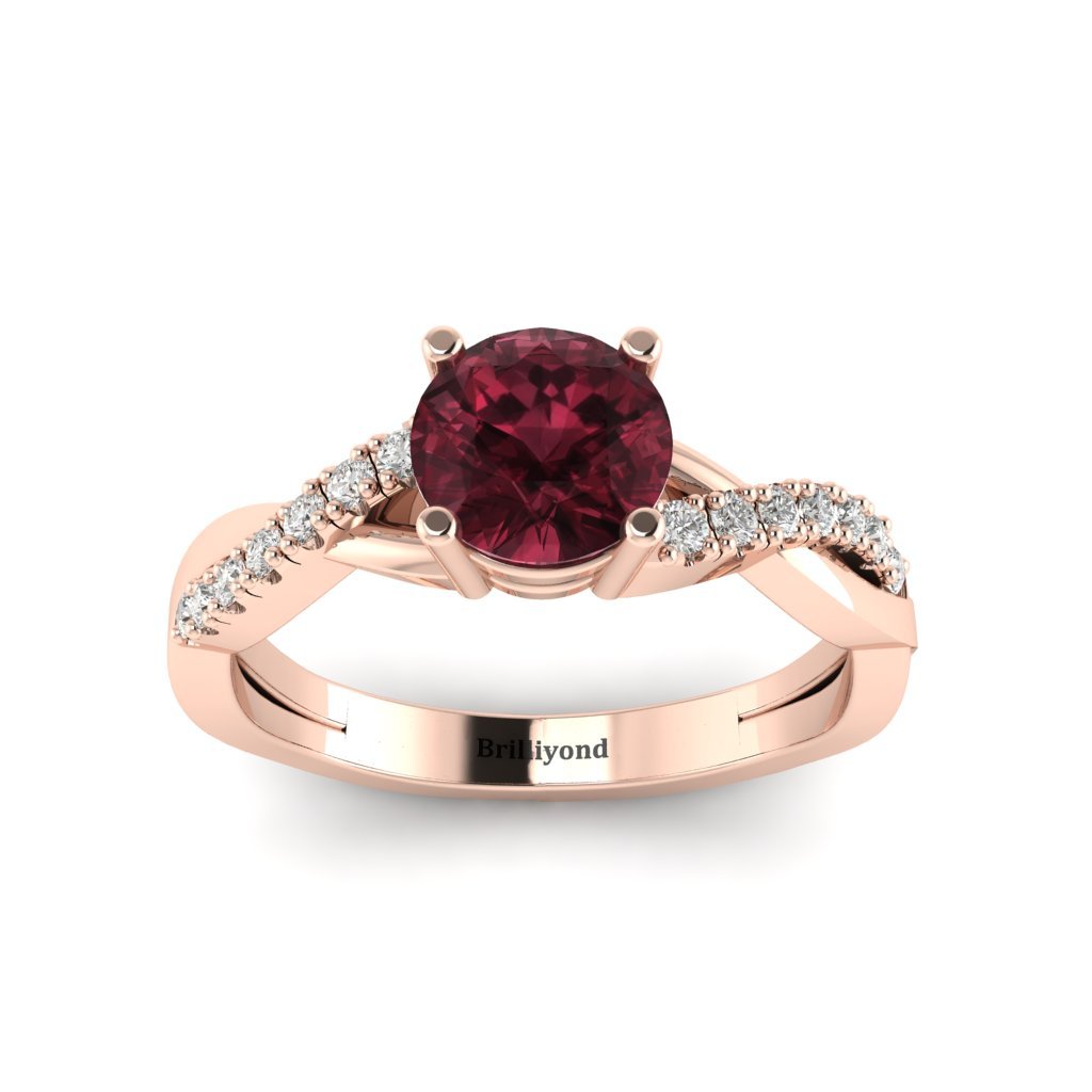 Garnet Rose Gold Round Engagement Ring Novia_image1