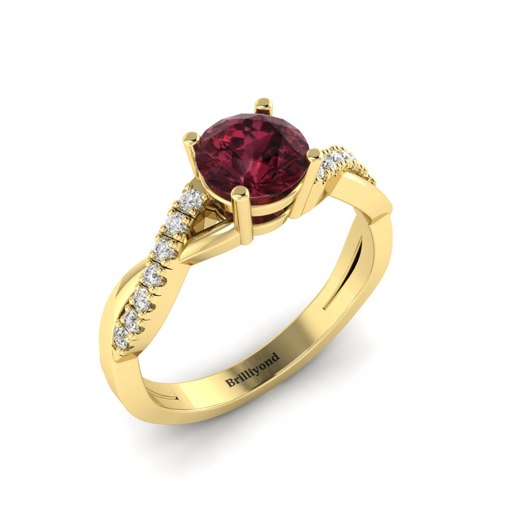 Garnet Yellow Gold Round Engagement Ring Novia_image1