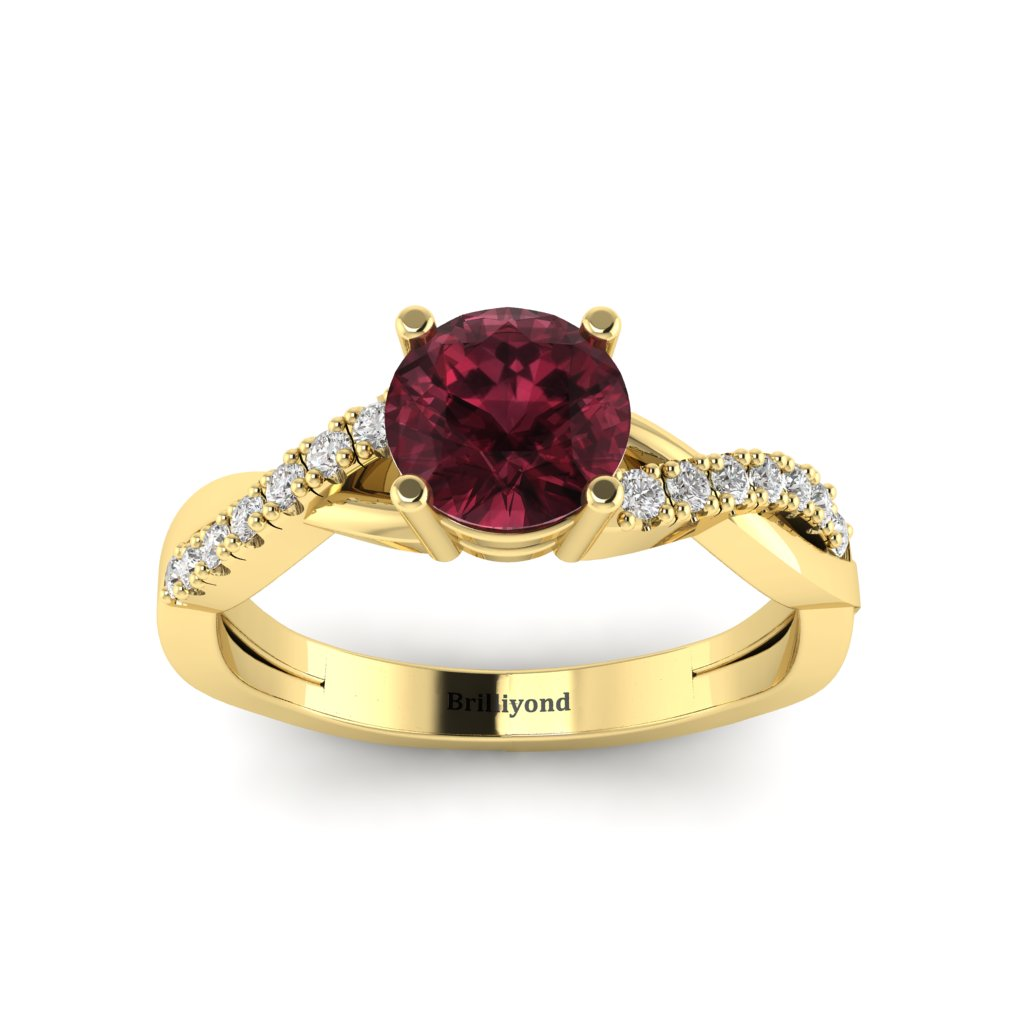 Garnet Yellow Gold Round Engagement Ring Novia_image2