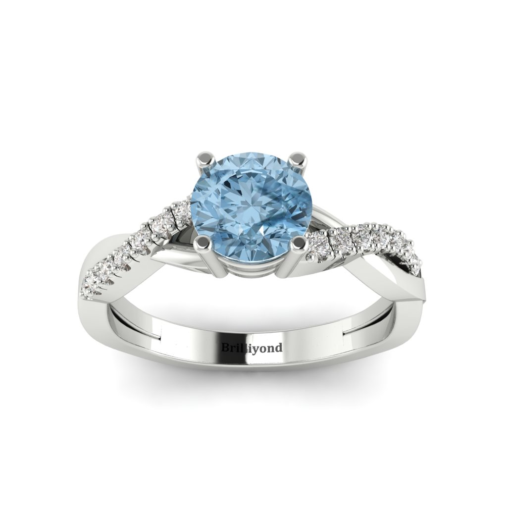 Aquamarine White Gold Round Engagement Ring Novia_image1