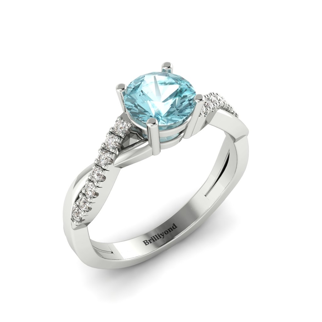 Aquamarine White Gold Round Engagement Ring Novia_image2