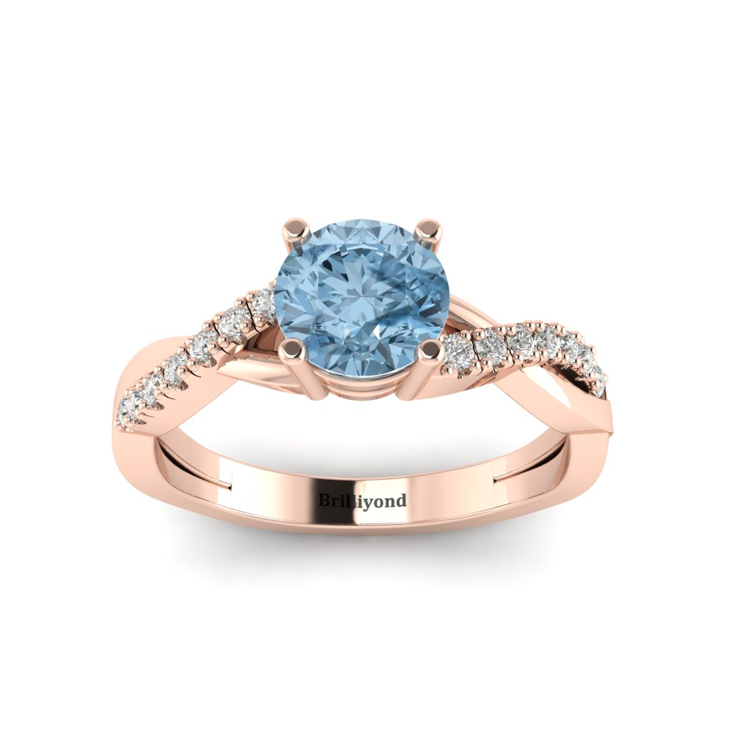 Aquamarine Rose Gold Round Engagement Ring Novia
