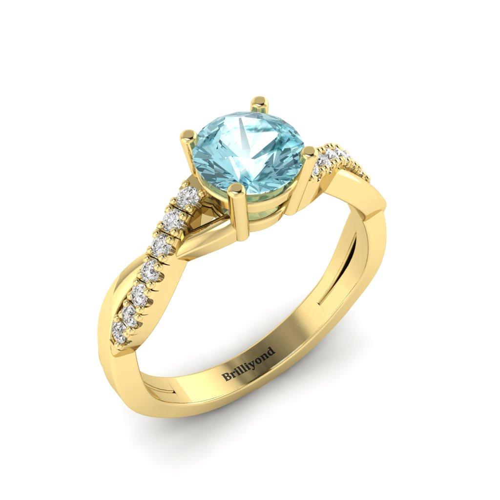 Aquamarine Yellow Gold Round Engagement Ring Novia