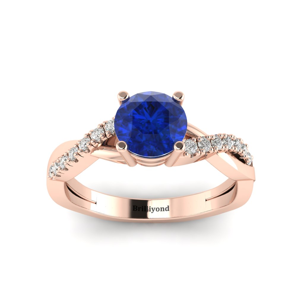 Blue Sapphire Rose Gold Round Engagement Ring Novia_image1