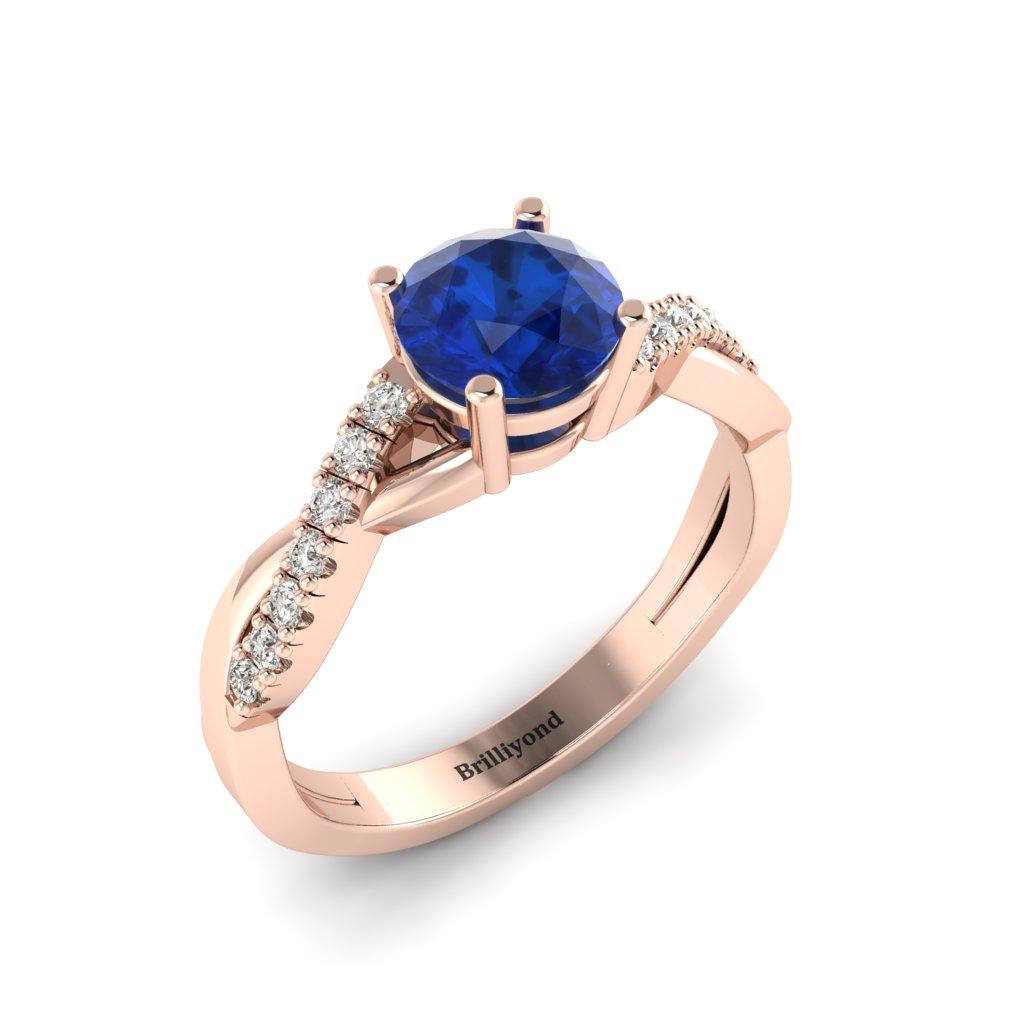 Blue Sapphire Rose Gold Round Engagement Ring Novia_image2