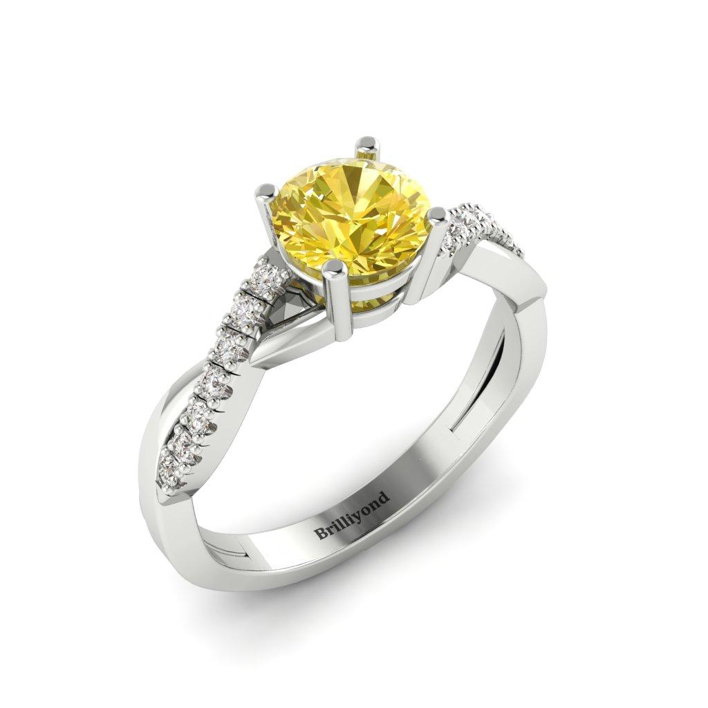 Yellow Sapphire White Gold Round Engagement Ring Novia