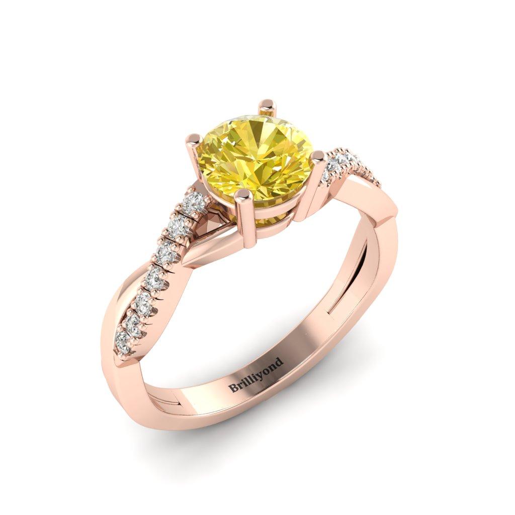 Yellow Sapphire Rose Gold Round Engagement Ring Novia_image1