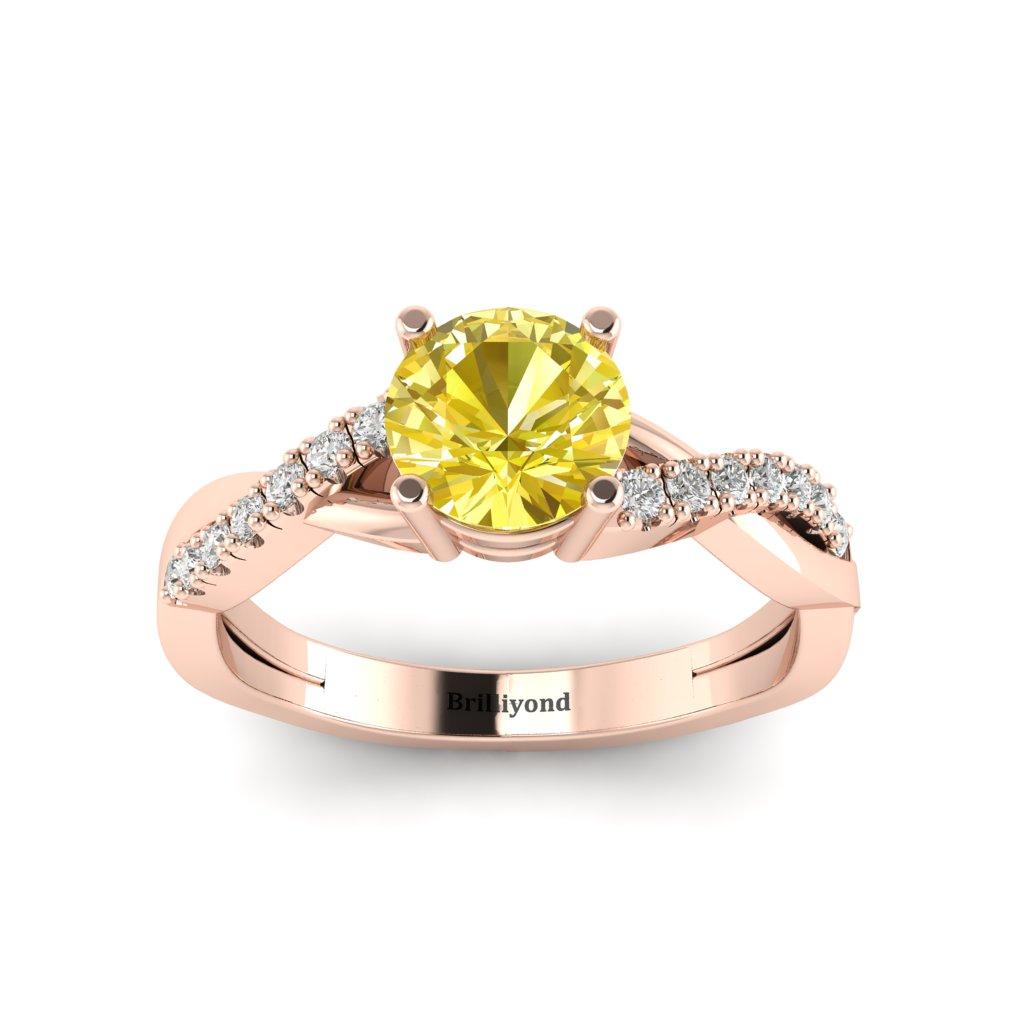 Yellow Sapphire Rose Gold Round Engagement Ring Novia_image2