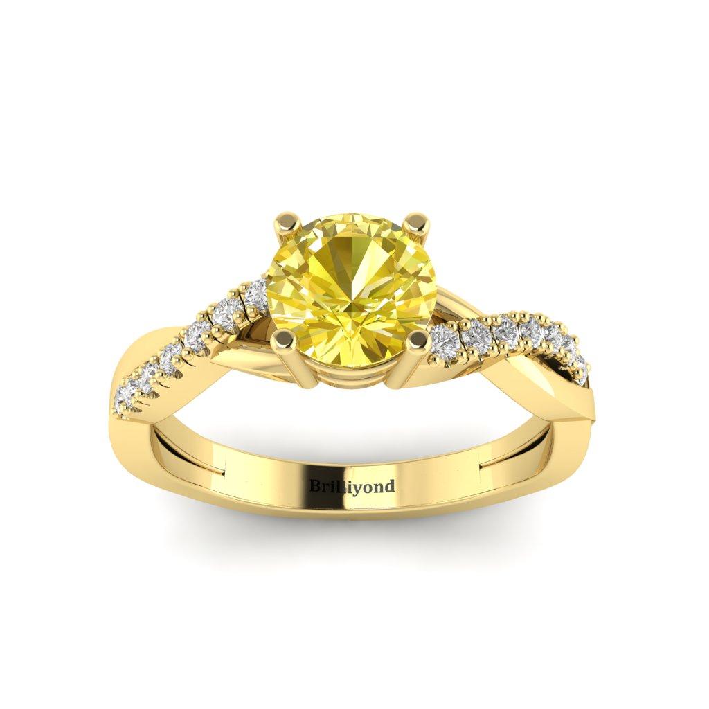 Yellow Sapphire Yellow Gold Round Engagement Ring Novia