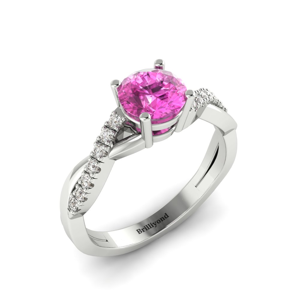 Pink Sapphire White Gold Round Engagement Ring Novia