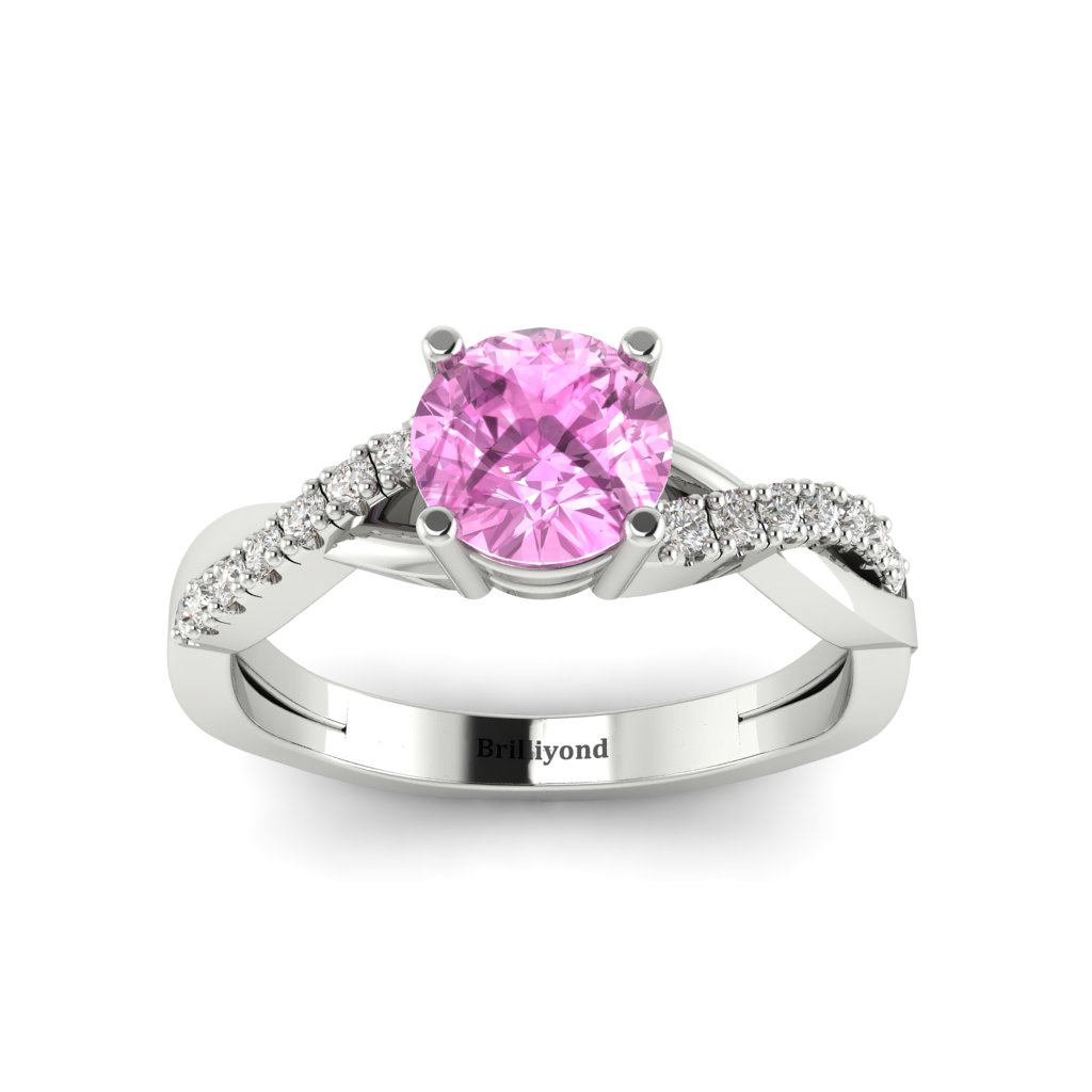Pink Sapphire White Gold Round Engagement Ring Novia_image2