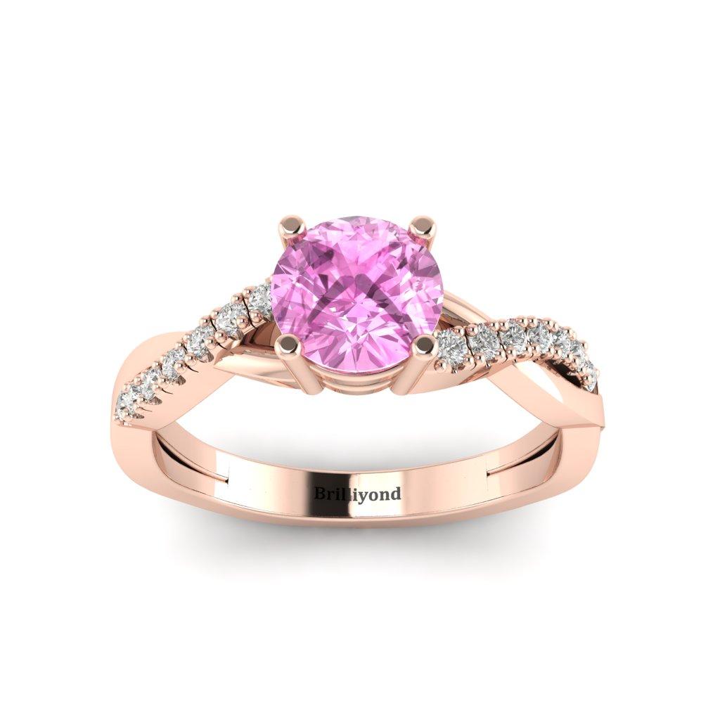 Pink Sapphire Rose Gold Round Engagement Ring Novia_image1