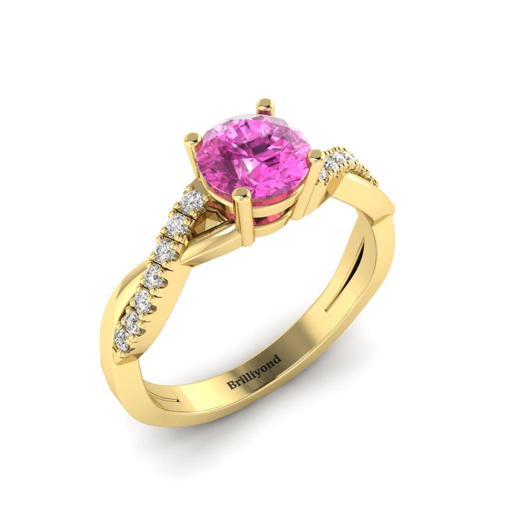 Pink Sapphire Yellow Gold Round Engagement Ring Novia_image1