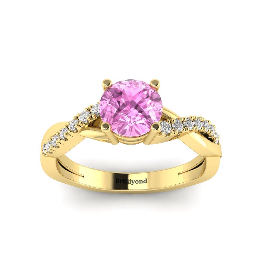 Pink Sapphire Yellow Gold Round Engagement Ring Novia_image2