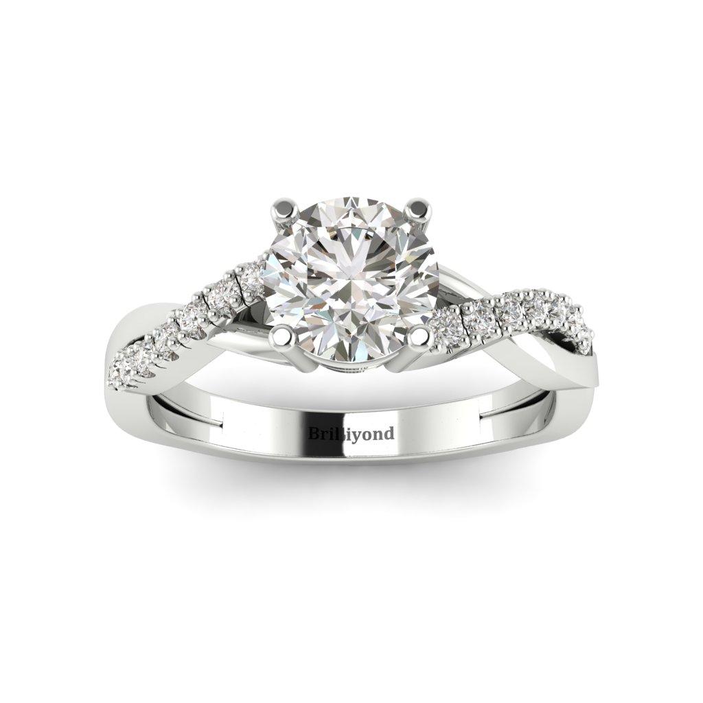 White Sapphire White Gold Round Engagement Ring Novia