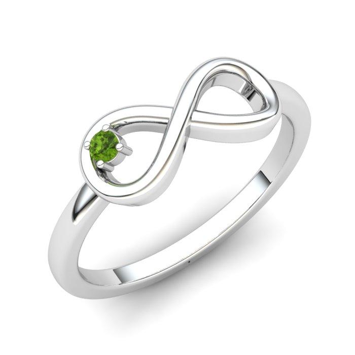 Peridot White Gold Infinity Ring