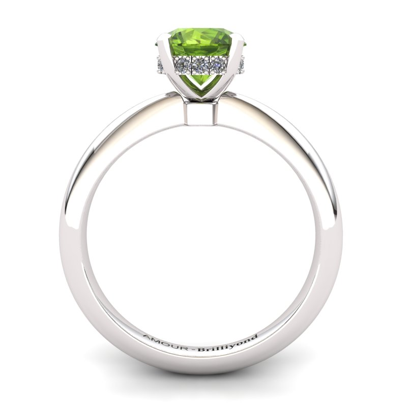Tapered One carat Peridot Engagement Ring