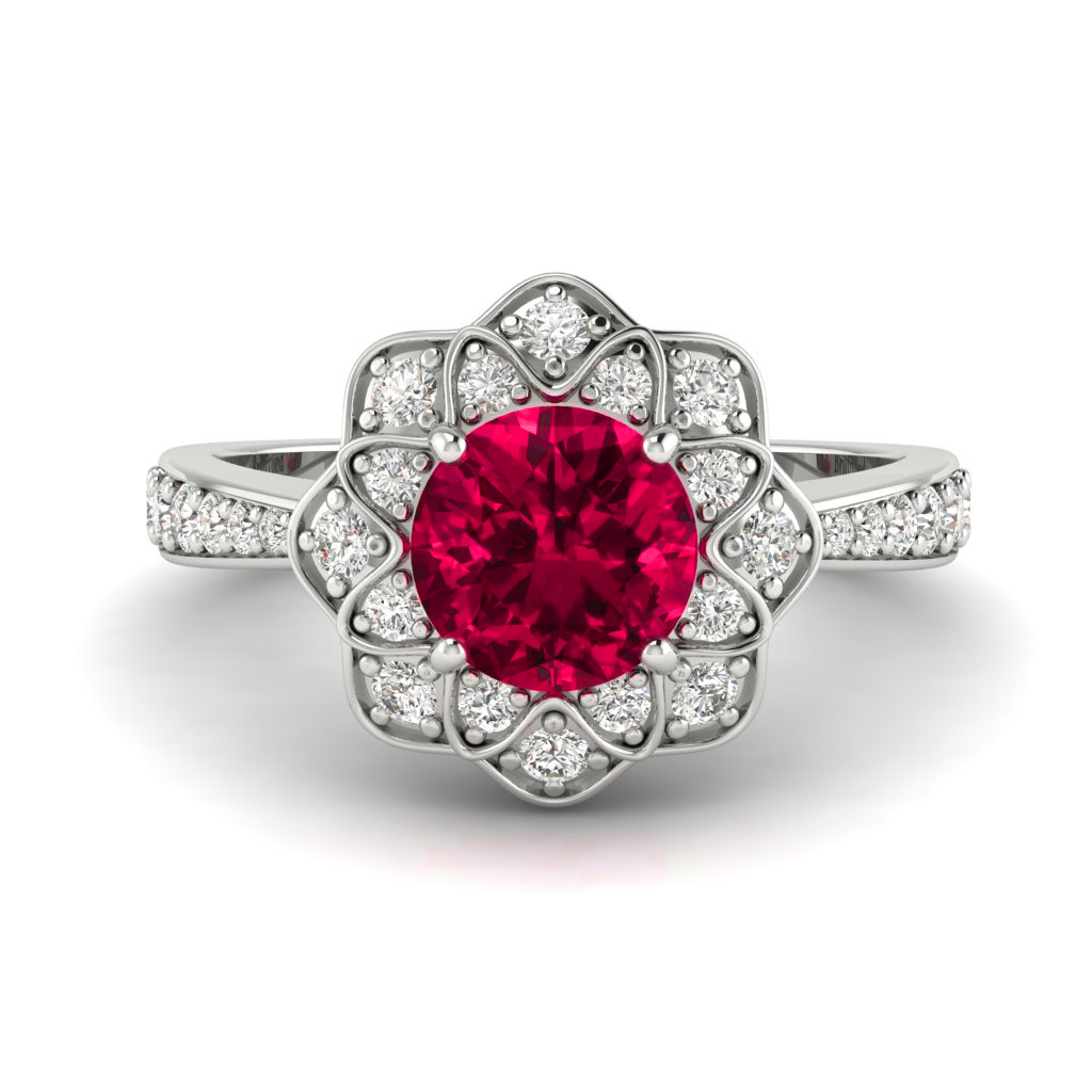 Genuine Diamonds with a Natural Red Ruby Ring