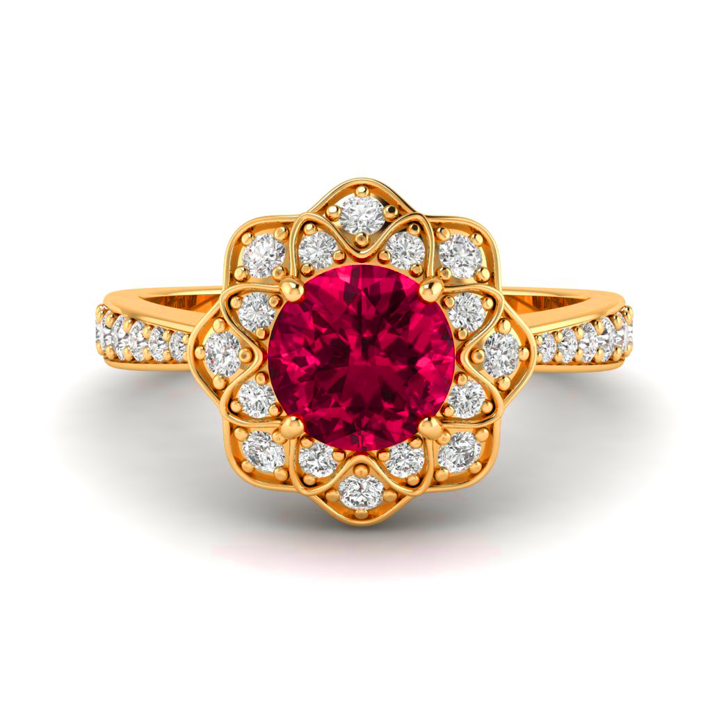 Ruby Yellow Gold Floral Halo Engagement Ring Santorini_image1