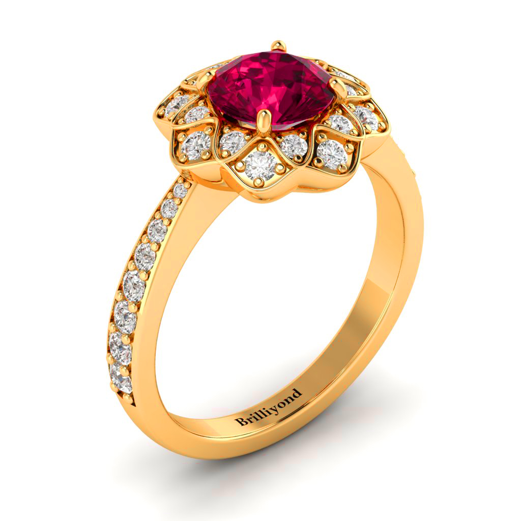 Ruby Yellow Gold Floral Halo Engagement Ring Santorini_image2