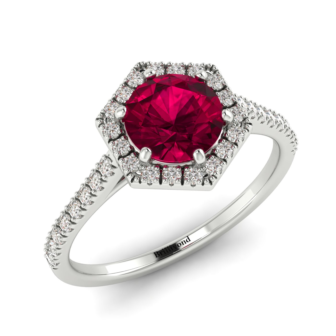 Ruby and Diamonds on 18k White Gold Band