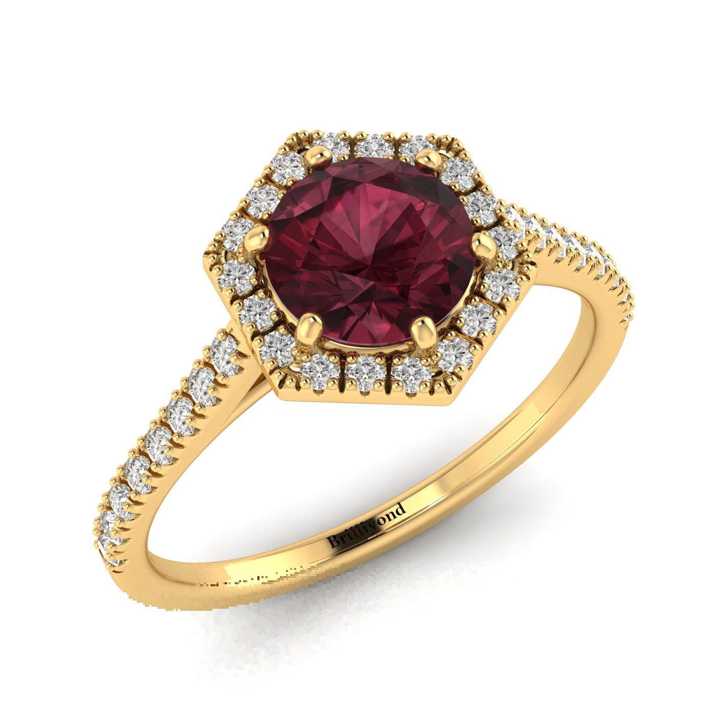 Ruby Yellow Gold Halo Engagement Ring Niagara