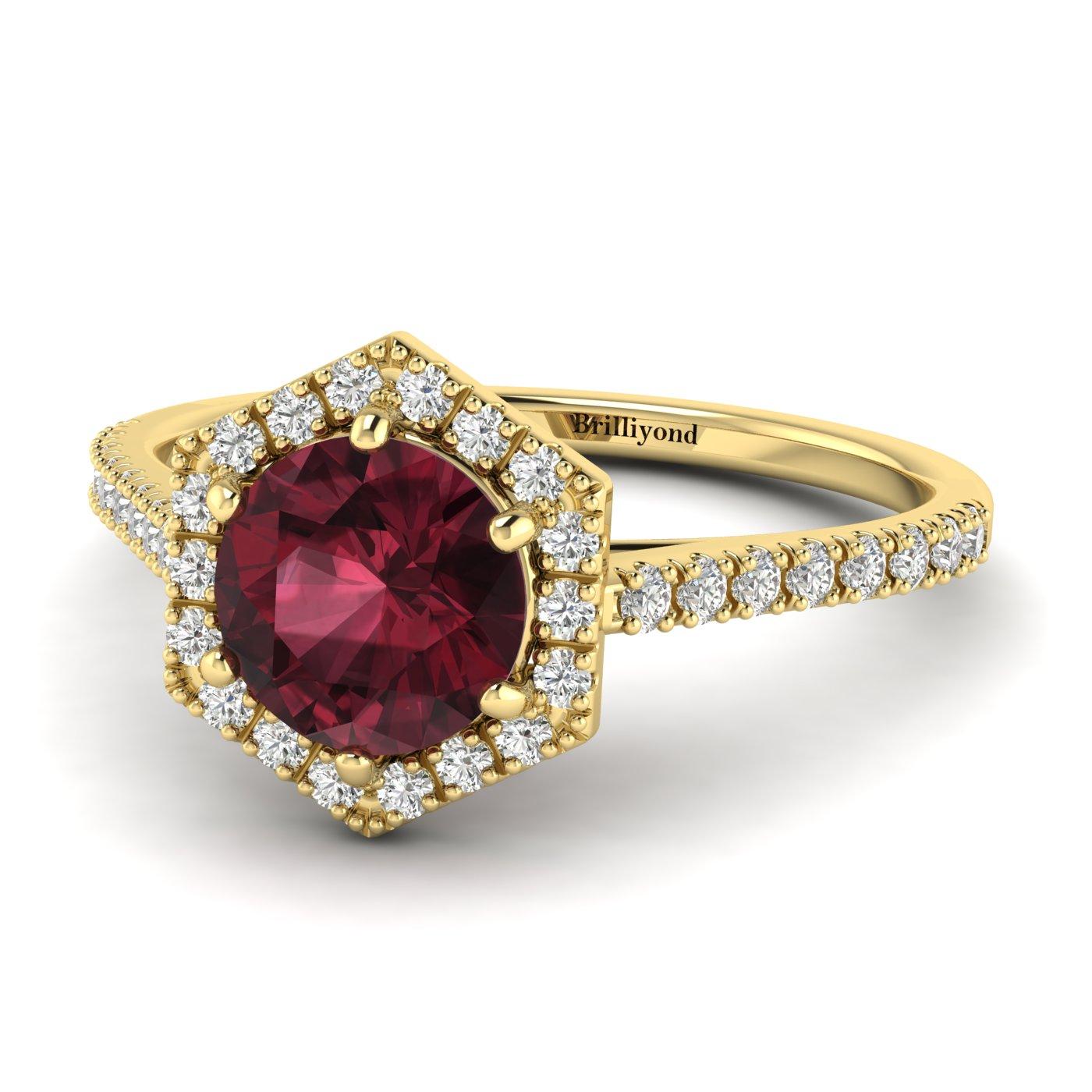 Ruby Yellow Gold Halo Engagement Ring Niagara_image2