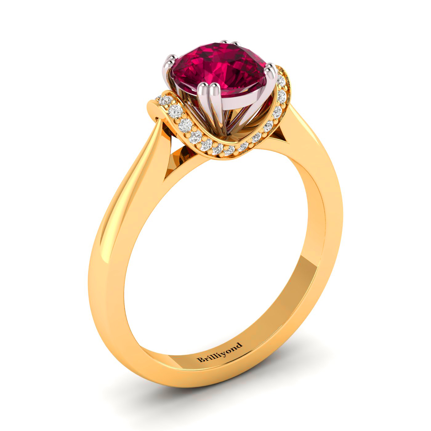 6mm Ruby with 26 Genuine Diamonds on a Two Tone Gold Band