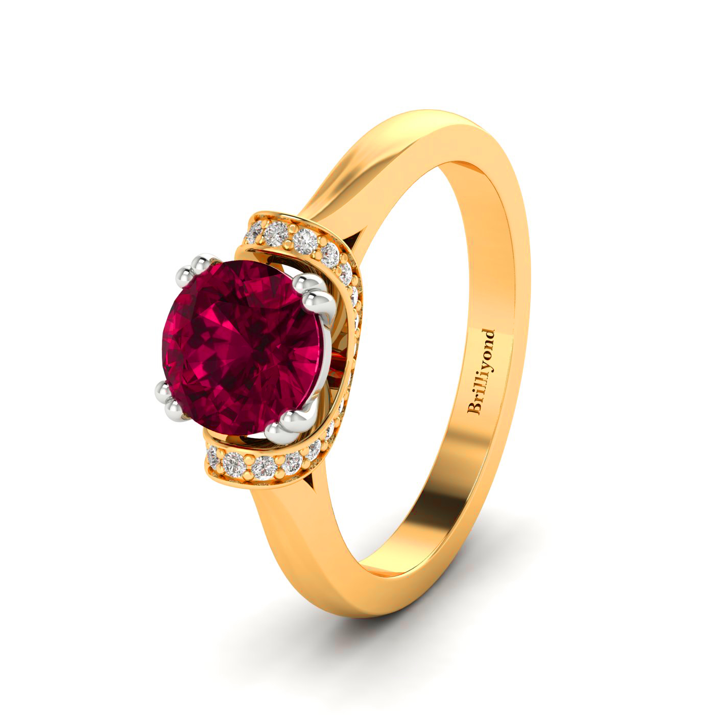 Ruby Two Tone Engagement Ring with Diamond Accents