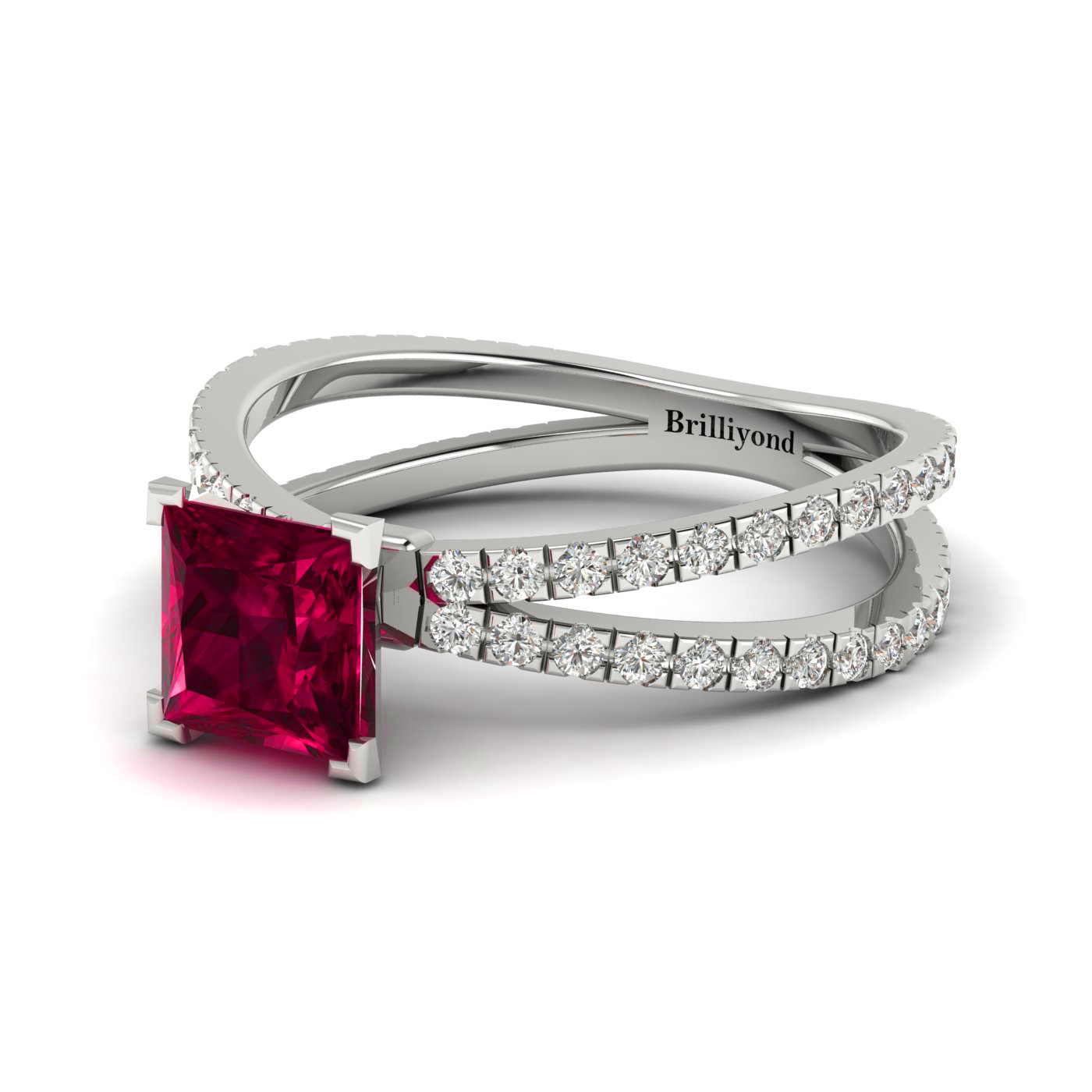 Ruby White Gold Princess Cut Engagement Ring Florentine_image1