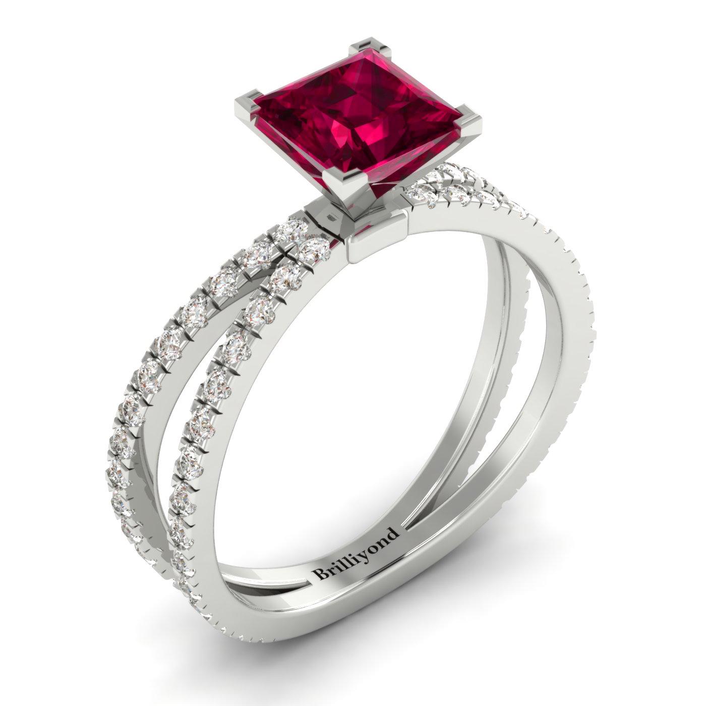 Ruby White Gold Princess Cut Engagement Ring Florentine_image2