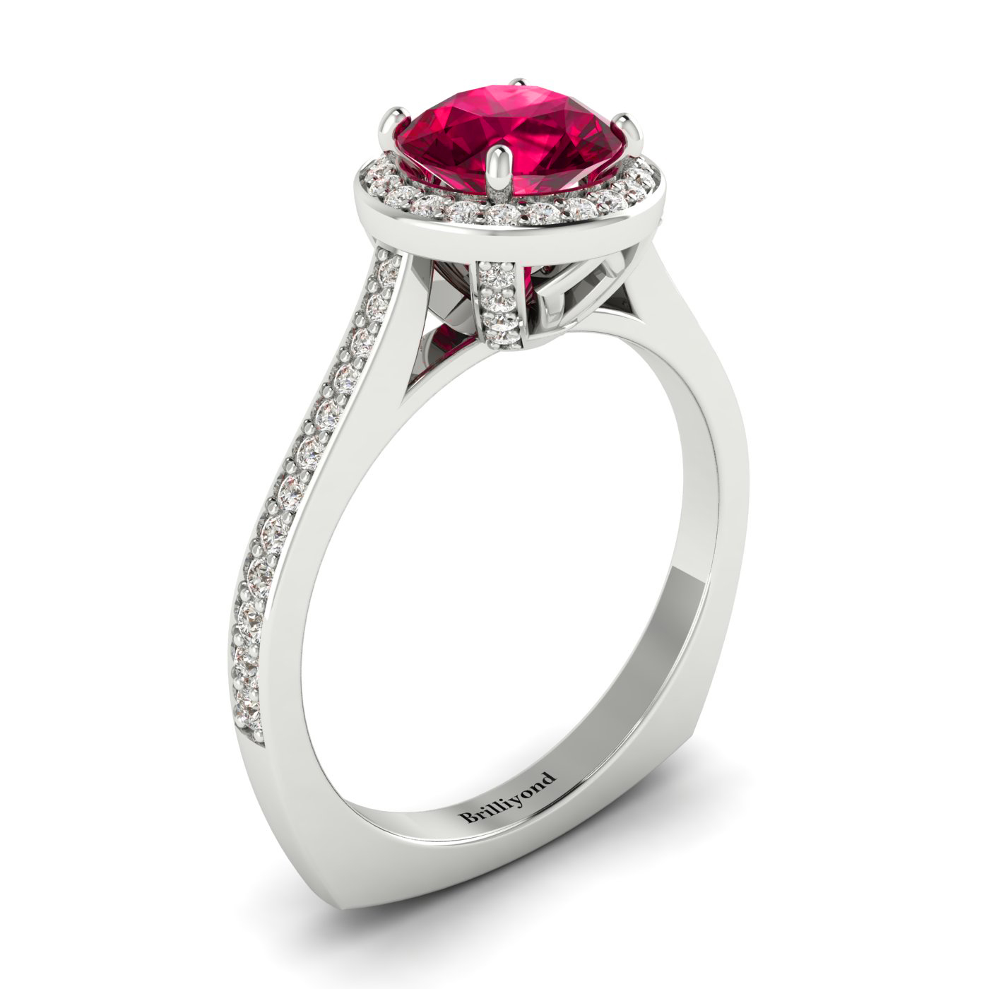 Ruby White Gold Halo Engagement Ring Edelweiss_image1