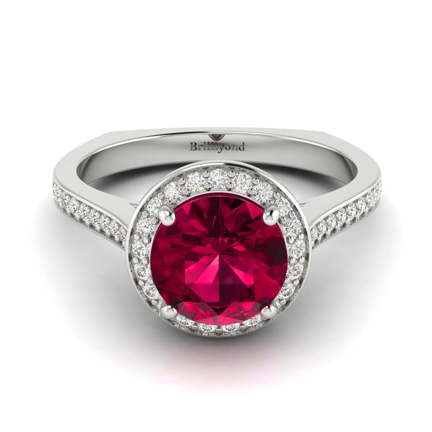 Ruby White Gold Halo Engagement Ring Edelweiss_image2
